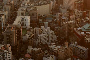 Looking down into Yokohama city from the Landmark Tower