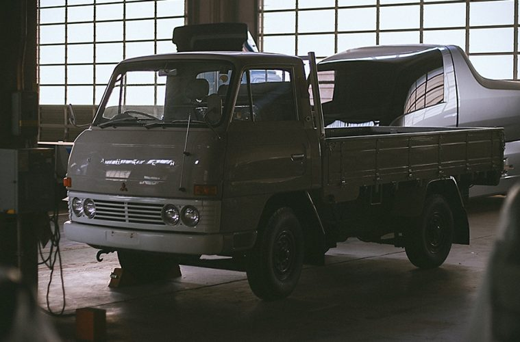 197s Mitsubishi Canter and Canter Eco D in a warehouse: part of the Fuso heritage truck collection